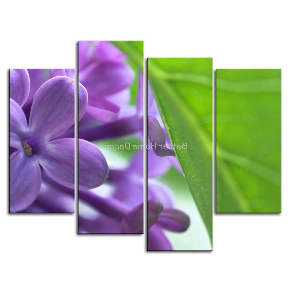 Popular Purple Wall Art Pertaining To 3 Piece Purple Wall Art Painting Lilac With Green Leaf Print On (View 9 of 15)
