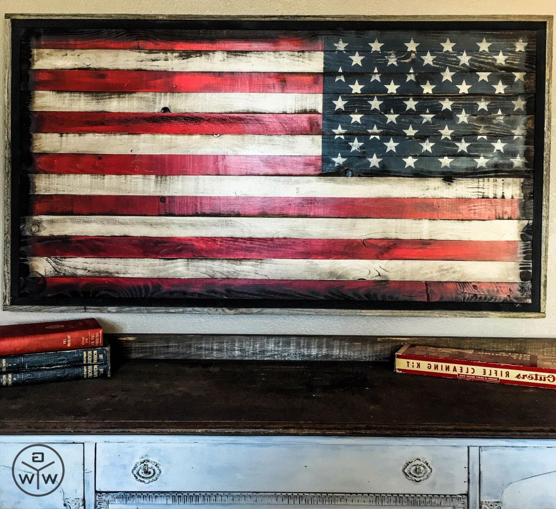 Popular Rustic American Flag Wall Art Inside American Flag Wood American Flag Wall Art Rustic American Flag Us (View 5 of 15)