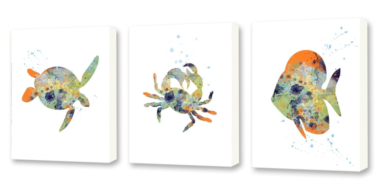 Popular Sea Life Wall Art With Crab Wall Art Sea Life Decor Bathroom Wall Art Set Of Three, Sea (View 10 of 15)