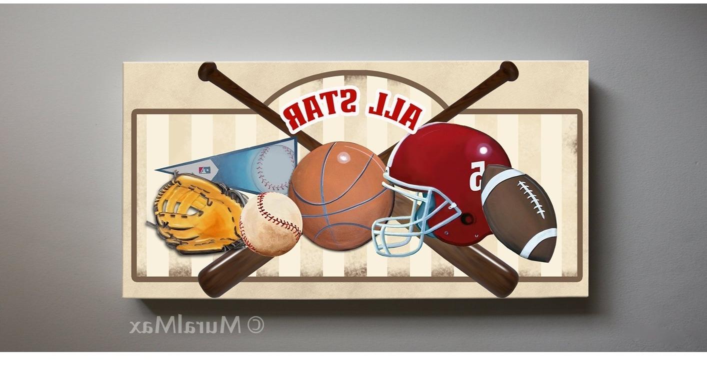 Popular Sports Wall Art For Art For Children Kids Wall Art Sports Canvas Art All Star, Baseball (View 7 of 15)