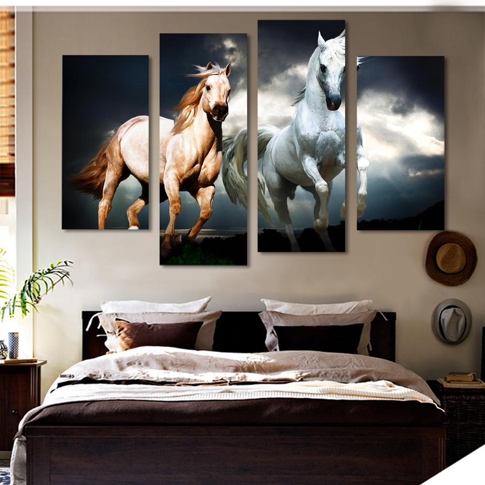 Popular Unframed 4 Pcs Horse Painting Canvas Wall Art Picture Home Regarding Horse Wall Art (View 4 of 15)