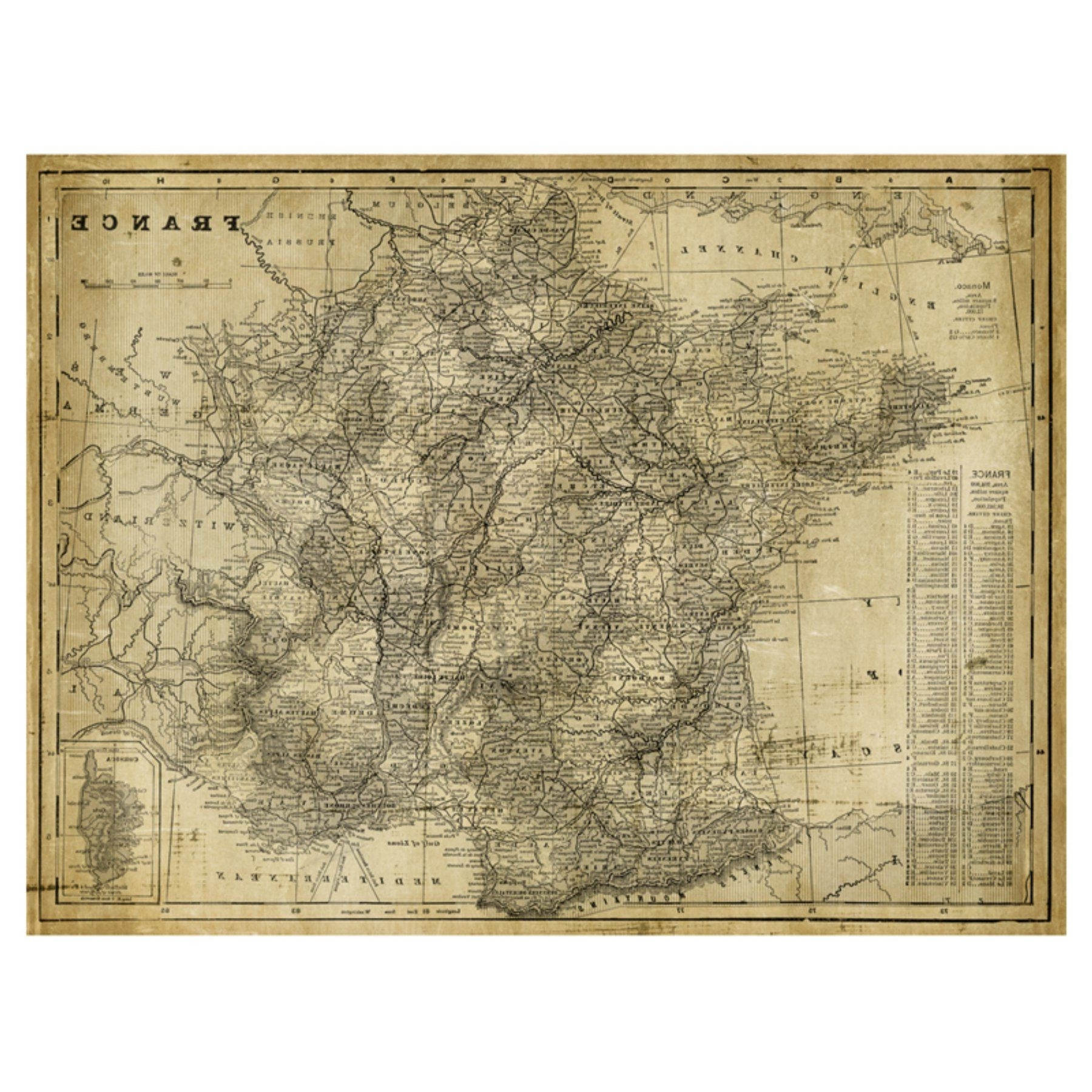 Popular Us Map On Canvas Best Art Effects Antique Map France Canvas Wall Art In Us Map Wall Art (View 4 of 15)