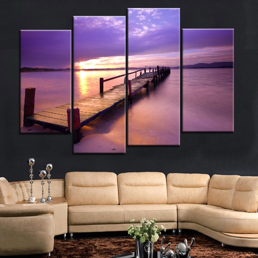 Popular Wall Art For Latest 4 Pieces Popular Warm Purple Modern Wall Painting Beach Sunset Sea (View 15 of 15)