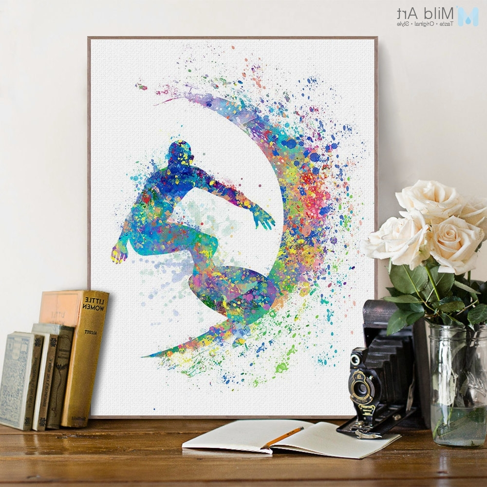 Popular Watercolor Surfing Beach Sports Wall Art Pictures For Living Room Intended For Sports Wall Art (View 9 of 15)