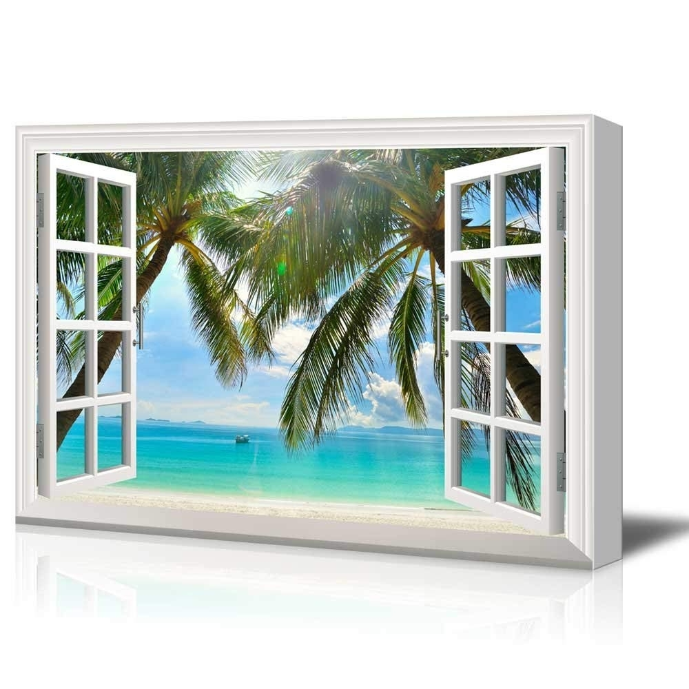 Popular Window Frame Wall Art Within Print Window Frame Style Wall Decor Palm Trees And Tropical Beach (View 6 of 15)