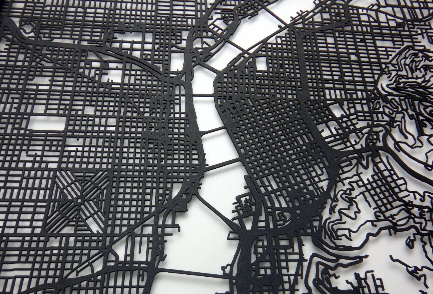 Portland Map, Laser Cut Map, Portland Oregon, Map Of Portland Pertaining To Favorite Portland Map Wall Art (View 11 of 15)