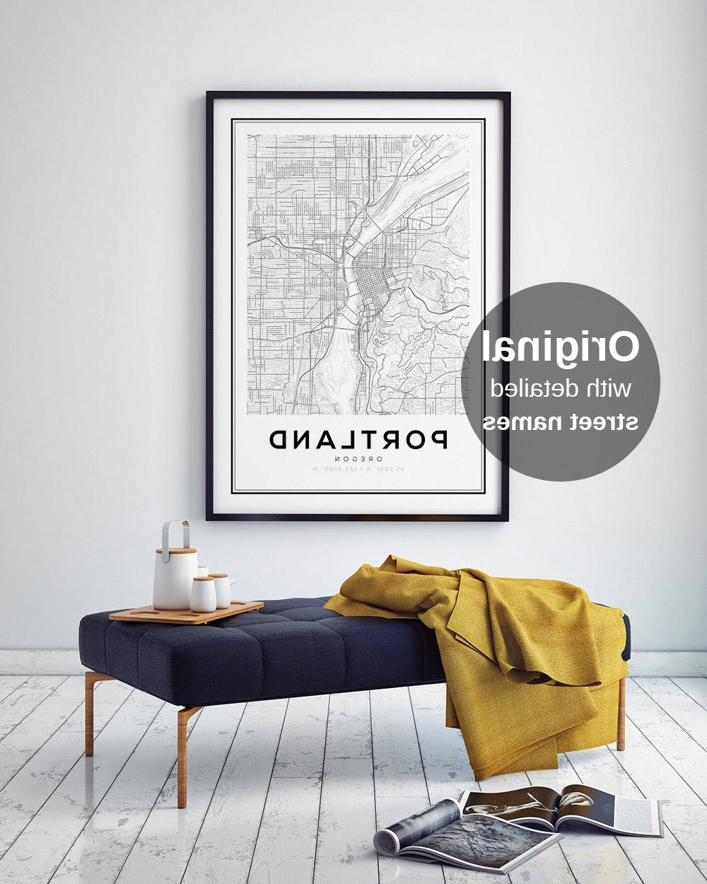 Portland Map Wall Art Intended For 2017 Portland City Map Print, Oregon Map Print, Us Map Print, Map Wall (View 7 of 15)