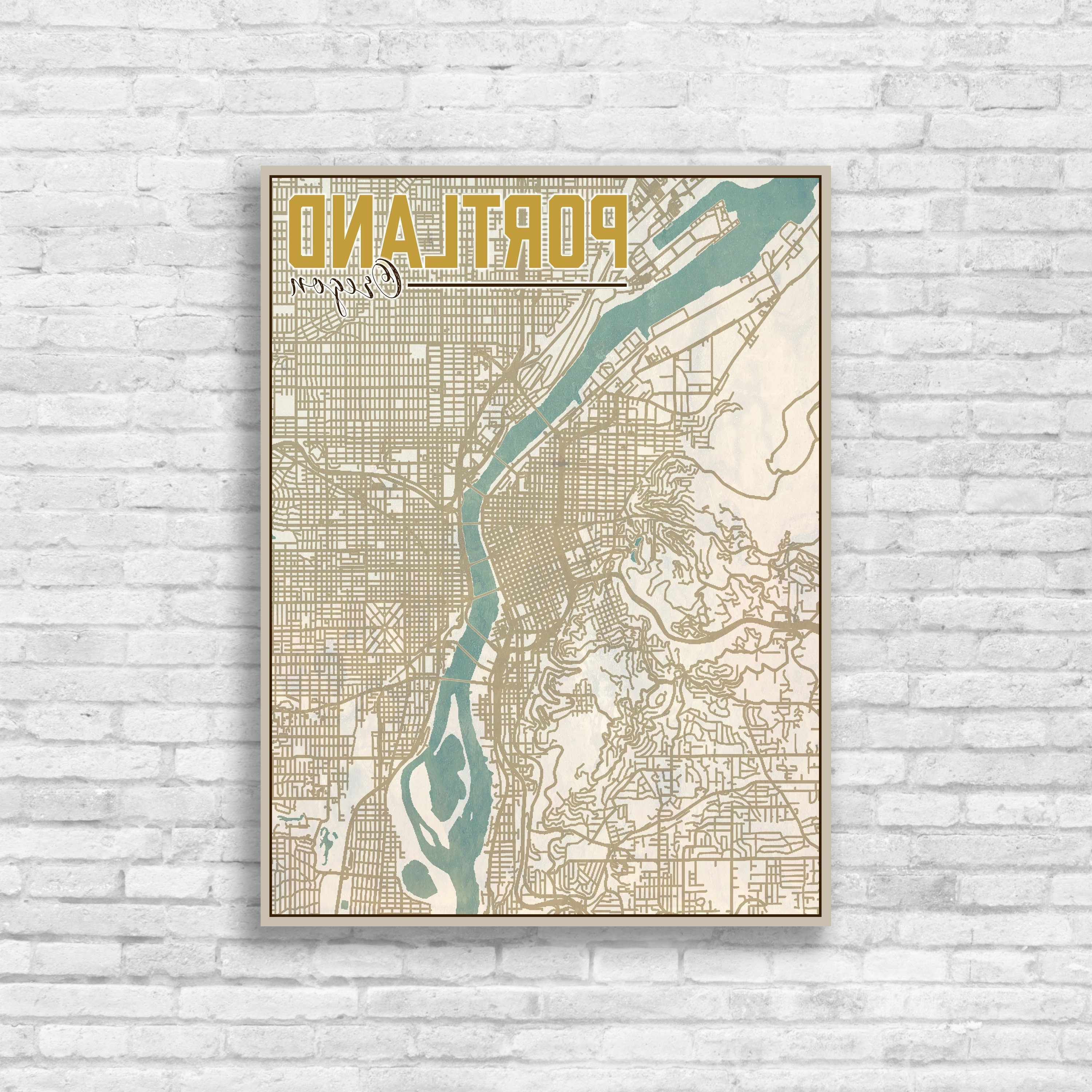 Portland Map Wall Art Intended For Recent Portland, Oregon, Portland City Map, Map Of Portland, Map Print (View 8 of 15)