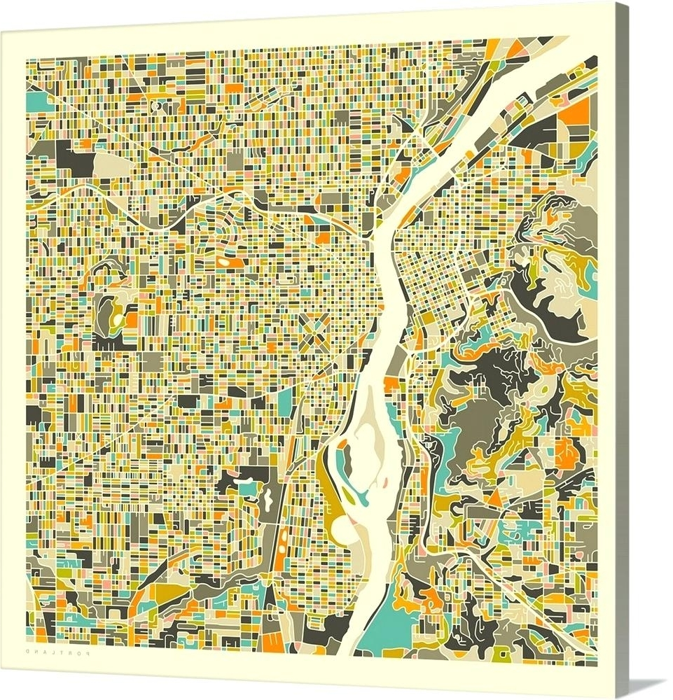 Portland Map Wall Art Within Best And Newest Portland Map Wall Art City Map Poster Printable Print Street Map (View 11 of 15)