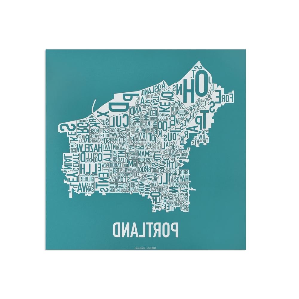 """Portland Neighborhood Map 12.5"""" X (View 6 of 15)"""