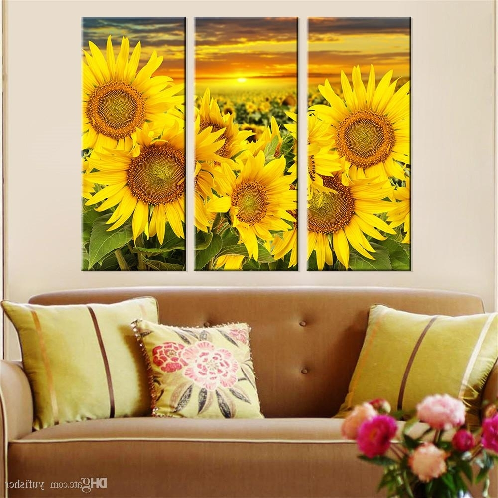 Preferred 2018 Hot Canvas Prints Flower Sunflower Wall Art Painting Modern For Sunflower Wall Art (View 3 of 15)