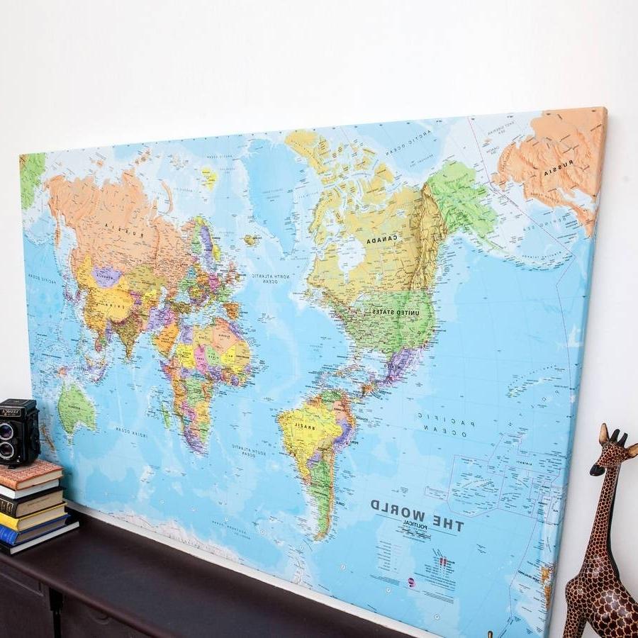 Preferred 2018 Latest Framed World Map Wall Art Inside Large In World Map Wall Art Framed (View 13 of 15)