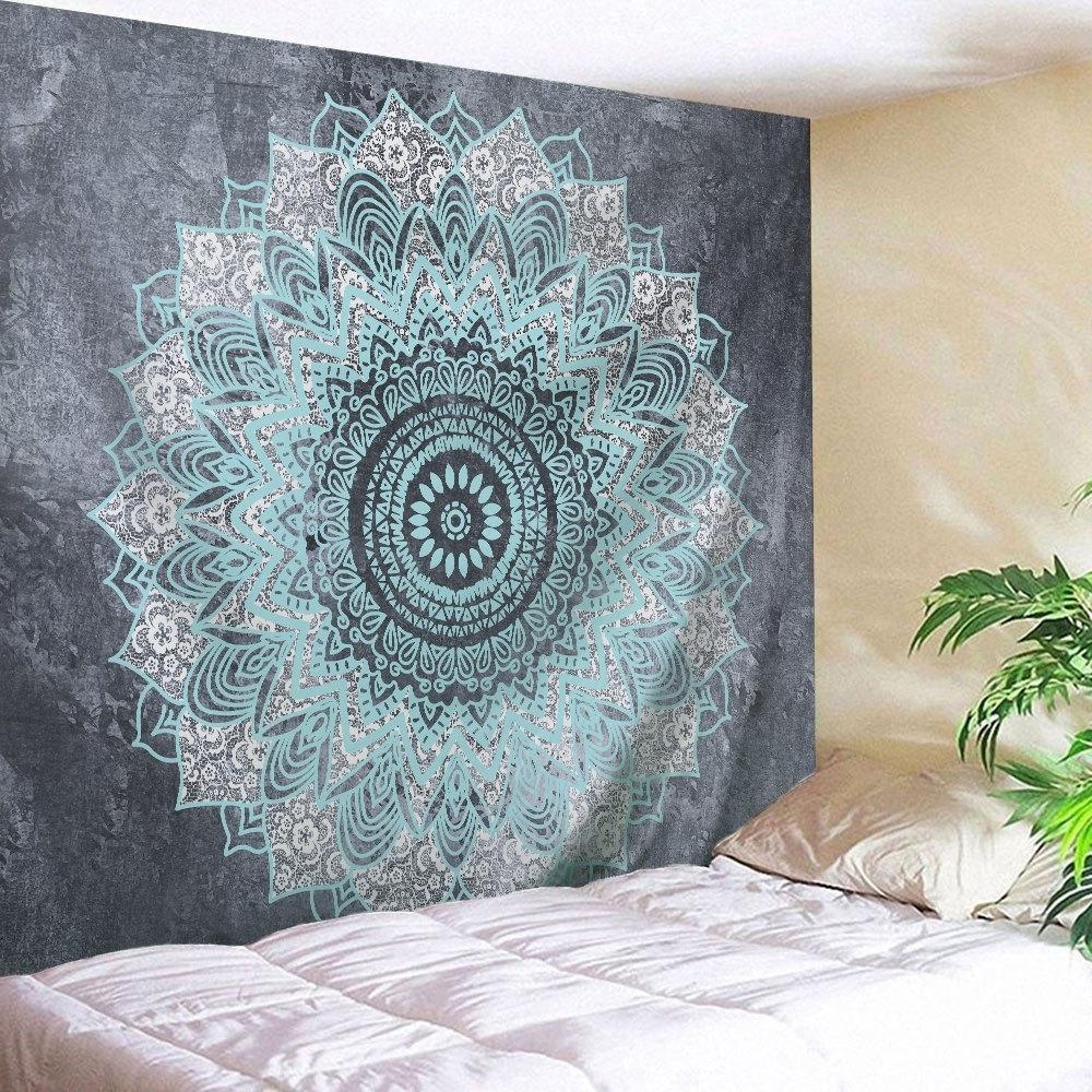 Preferred 2018 Mandala Wall Art Hanging Beach Throw Tapestry Gray W Inch L Throughout Mandala Wall Art (View 8 of 15)