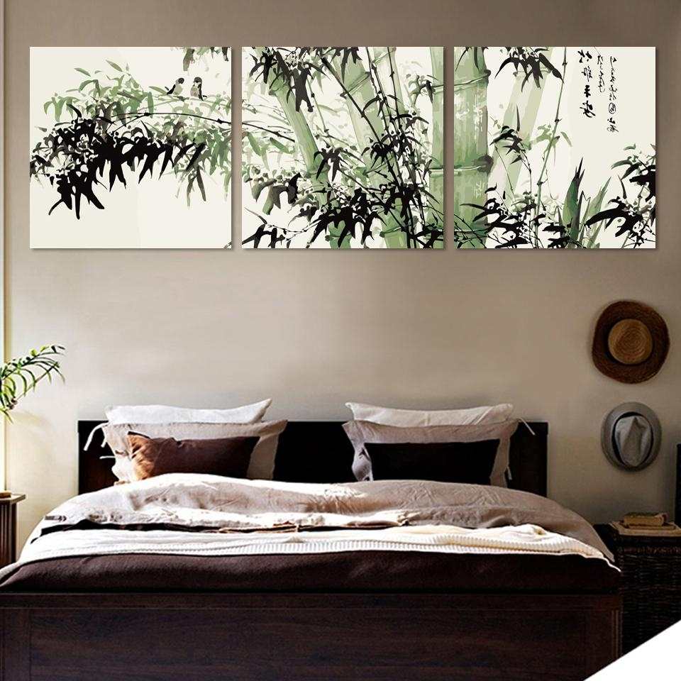 Preferred Bamboo Wall Art Throughout Bamboo Canvas Wall Art Landscape Painting 3 Pieces Large Bamboo Wall (View 14 of 15)