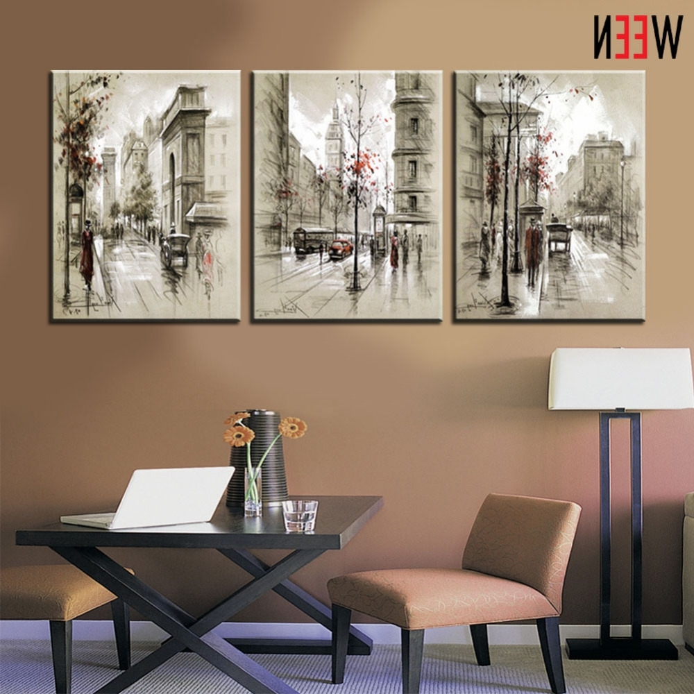 Preferred Canvas Printings Retro City Street Landscape 3 Piece Modern Style Within Cheap Framed Wall Art (View 2 of 15)