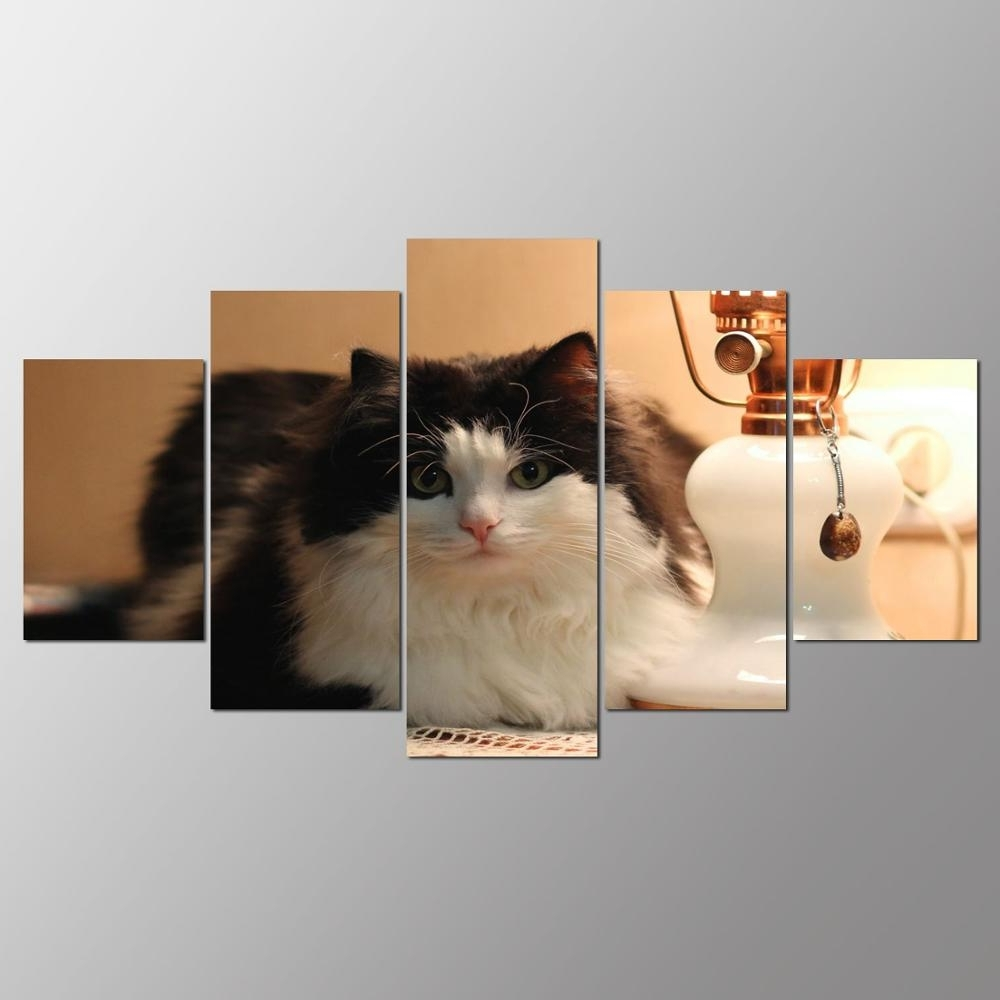 Preferred Cat Canvas Wall Art Pertaining To Promotion 5 Pieces Canvas Painting Cat Canvas Wall Art Print (View 12 of 15)