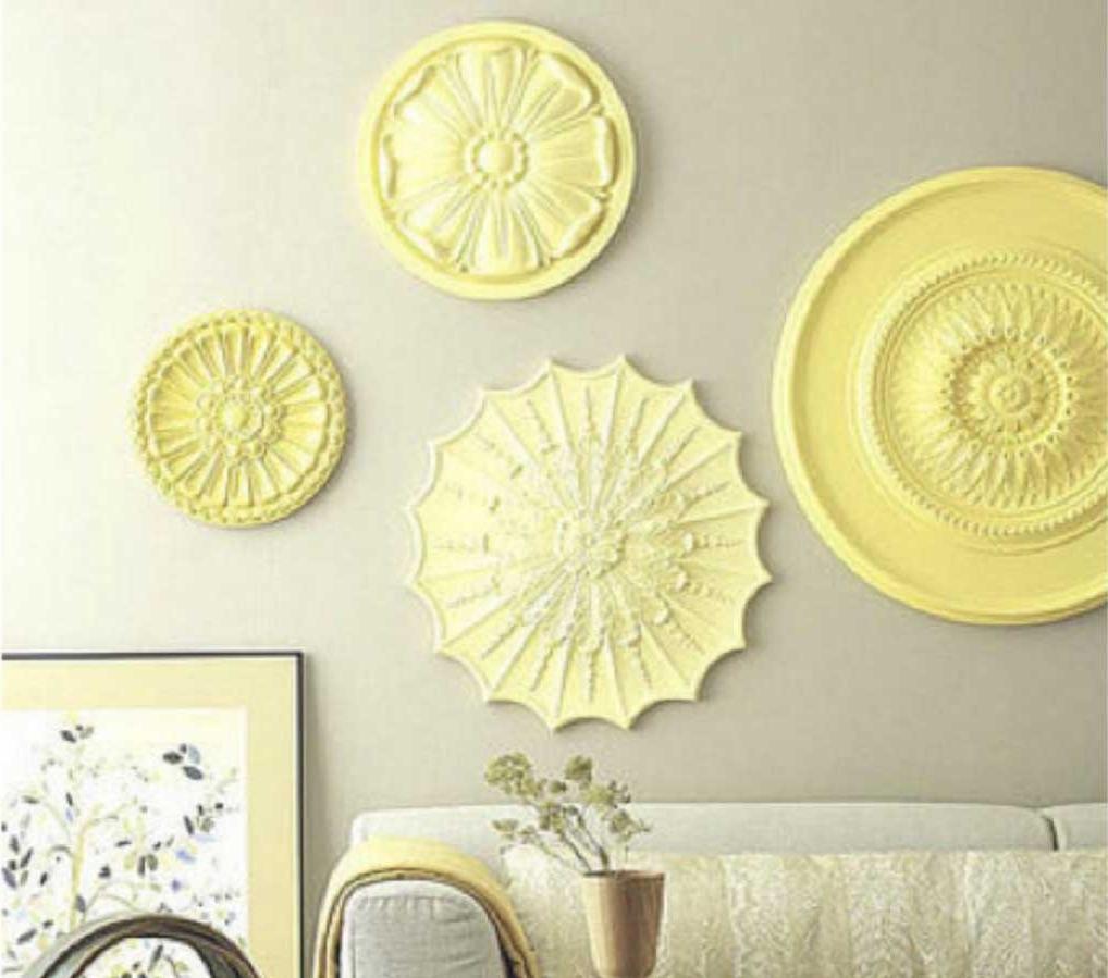 Preferred Ceiling Medallion Wall Art For Ceiling Medallion Wall Art With Yellow Color Ideas (View 13 of 15)