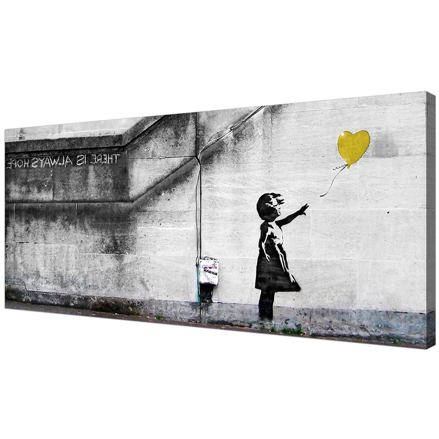 Preferred Cheap Yellow Canvas Art Of Banksy Balloon Girl Regarding Yellow And Gray Wall Art (View 13 of 15)