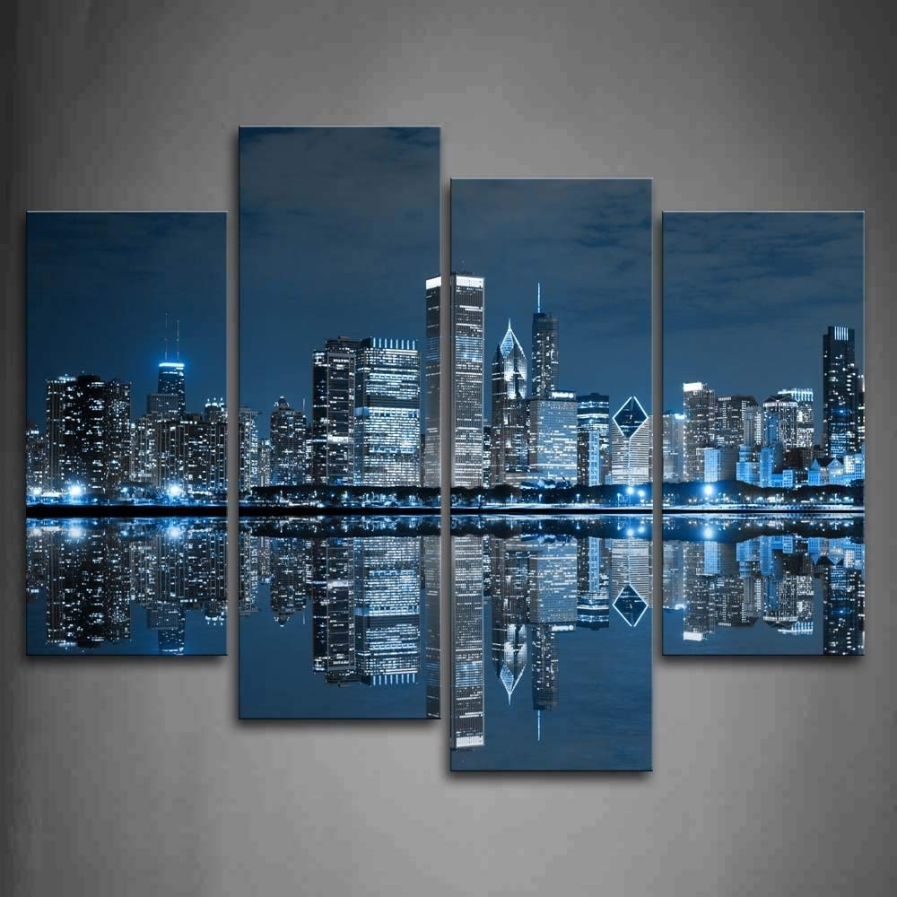 Preferred Chicago Wall Art Throughout Amazon: First Wall Art – Blue Cool Buildings In Dark Color In (View 11 of 15)