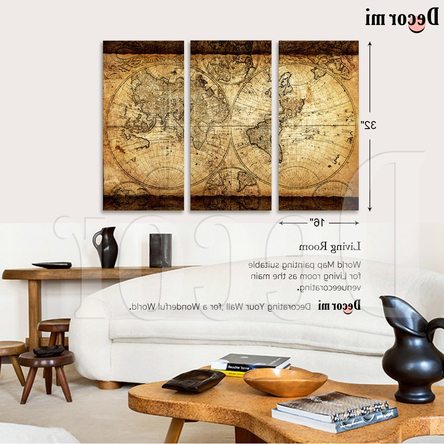 Preferred Decor Mi Vintage World Map Canvas Wall Art Prints Stretched Framed For Vintage Map Wall Art (View 10 of 15)