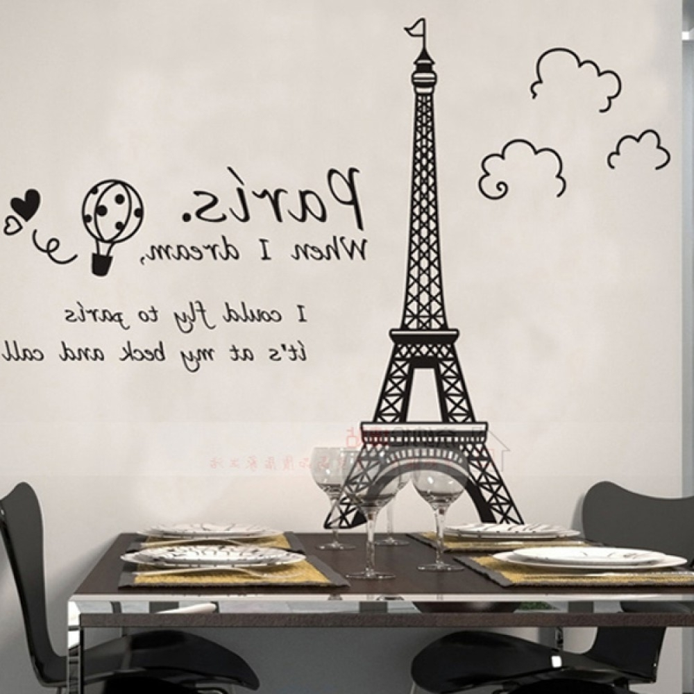 Preferred Eiffel Tower Wall Art Intended For Eiffel Tower Wall Sticker (View 10 of 15)