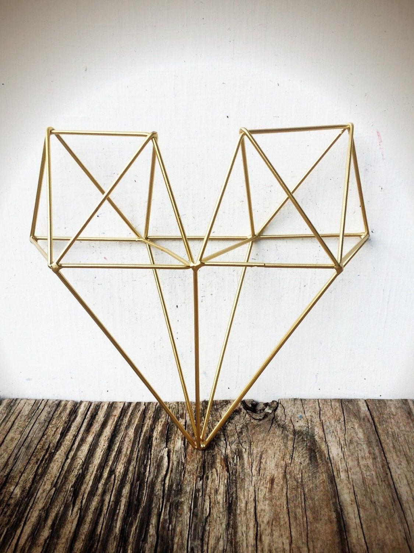 Preferred Geometric Metal Wall Art Inside Bold 3D Geometric Metal Heart Wall Art // Metallic Gold Leaf (View 14 of 15)