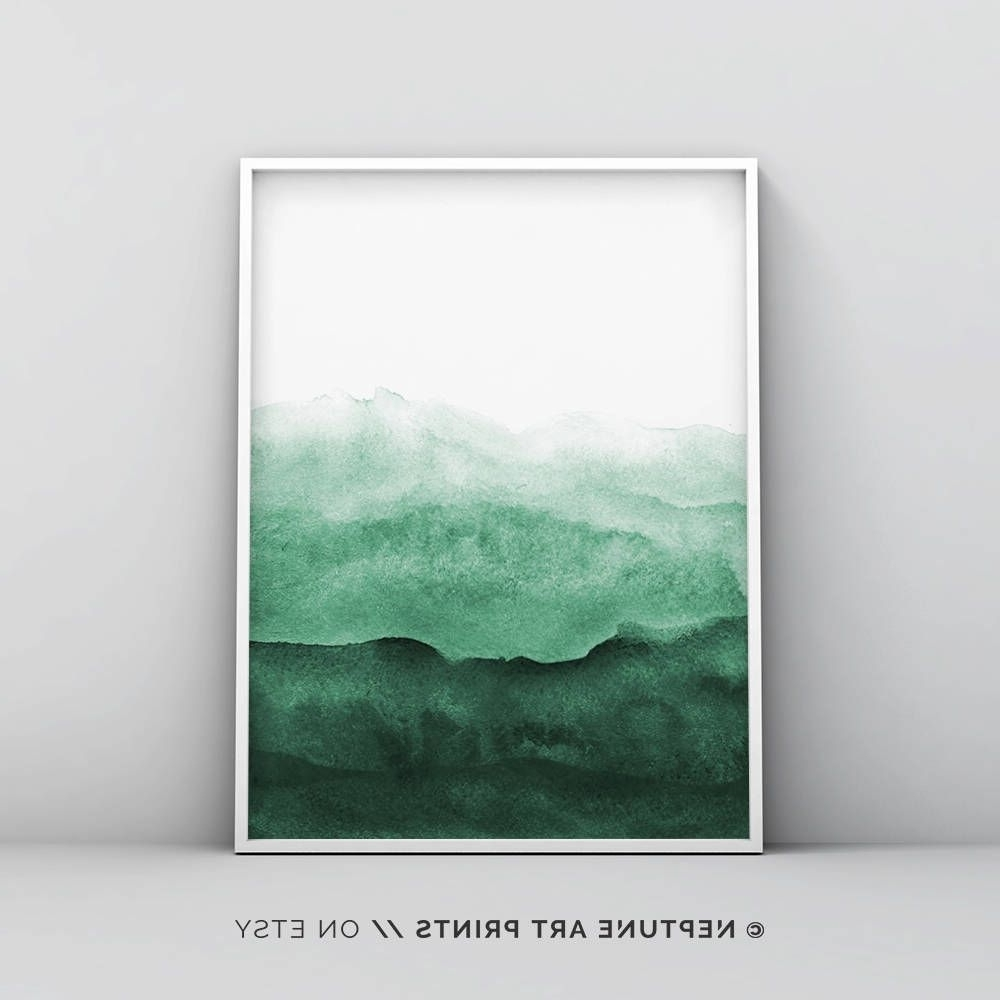 Preferred Green Wall Art With Regard To Abstract Wall Art Print, Green Painting, Emerald, Teal Decor, Modern (View 12 of 15)