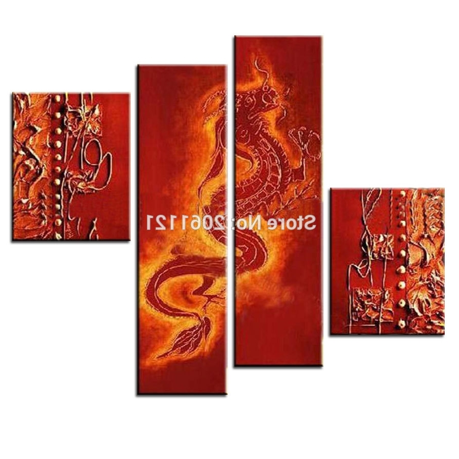 Preferred Handmade Canvas Wall Painting Red Dragon Oil Painting Traditional For Chinese Wall Art (View 11 of 15)