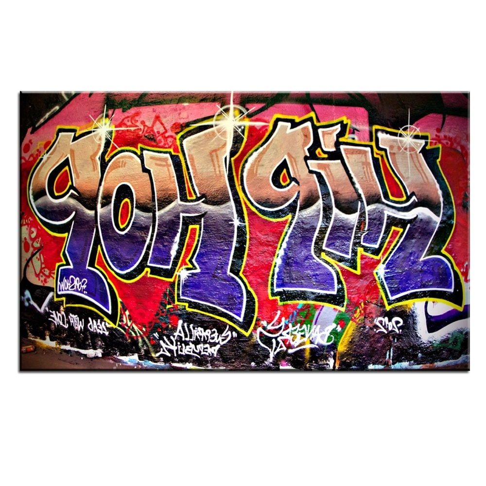 Preferred Hip Hop Wall Art In Xdr951 Graffiti Street Art Hip Hop Canvas Wall Art Prints Poster For (View 3 of 15)