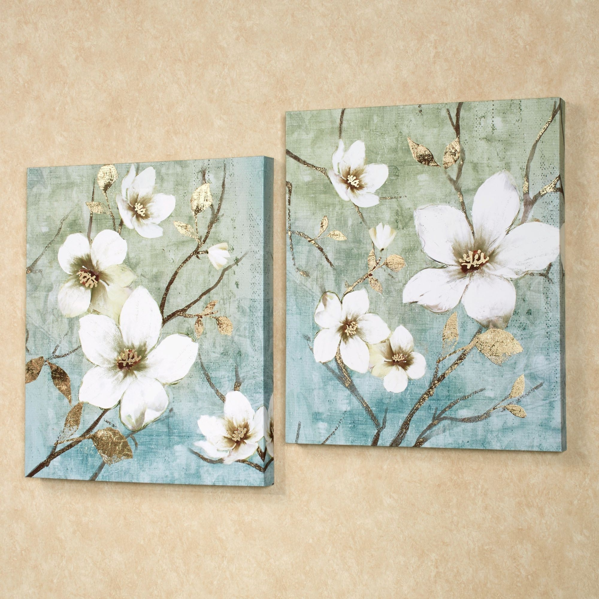 Preferred In Bloom Floral Canvas Wall Art Set Regarding Floral Canvas Wall Art (View 2 of 15)