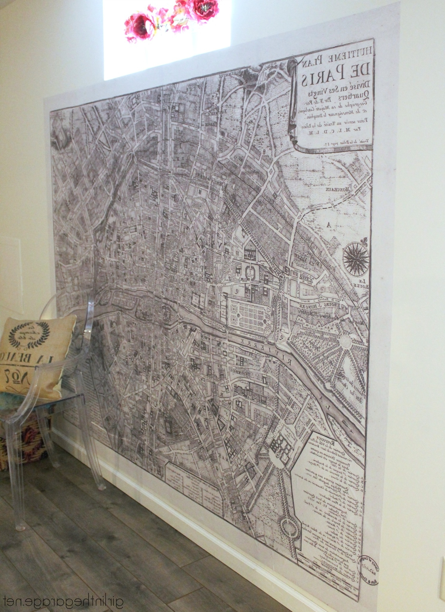 Preferred Map Of Paris Wall Art Regarding Giant Paris Wall Map – How To Make A Statement Wall With Removable (View 7 of 15)