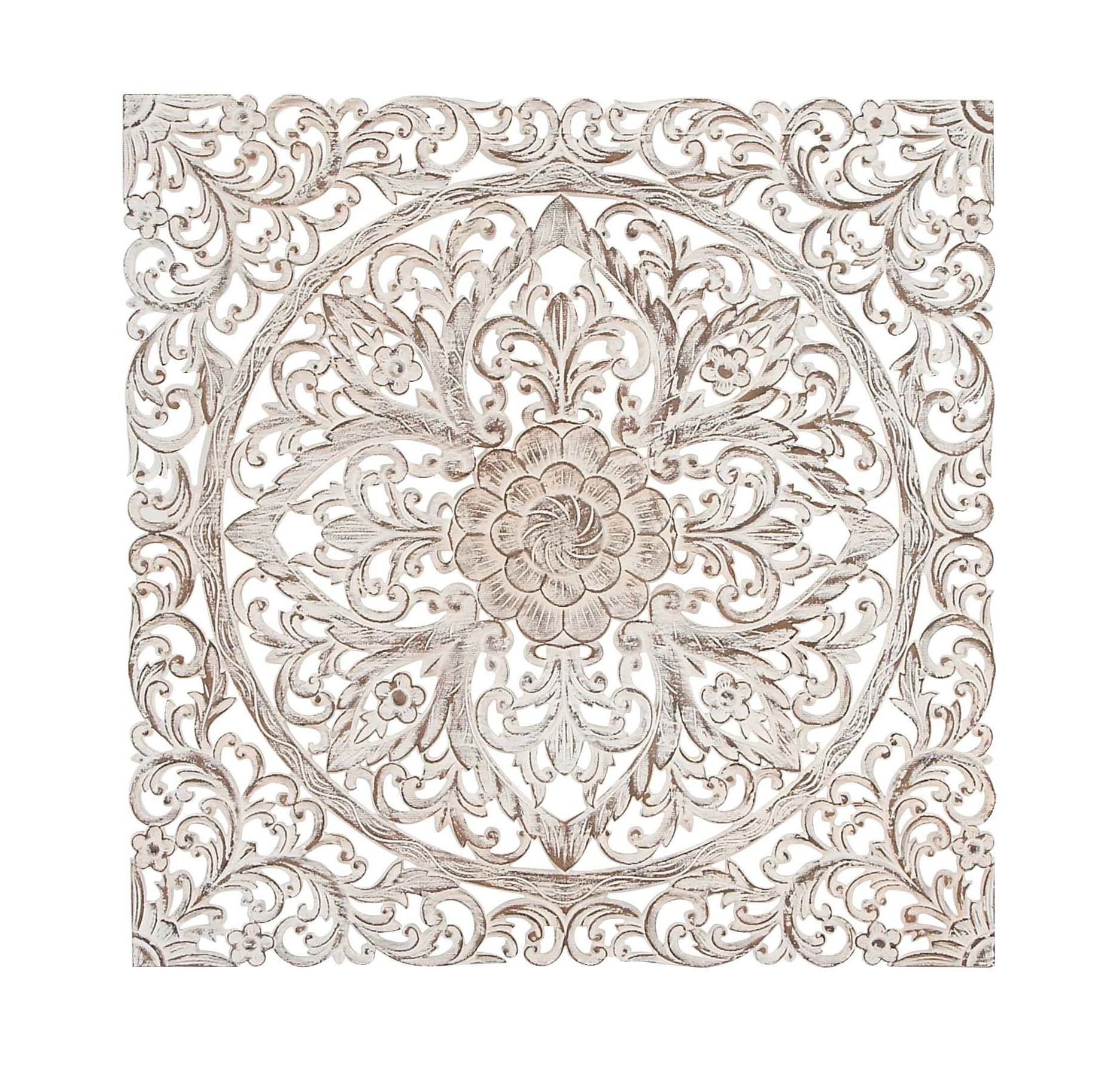 Preferred Medallion Wall Art Pertaining To Bungalow Rose Traditional Carved Floral Medallion Wall Decor (View 6 of 15)