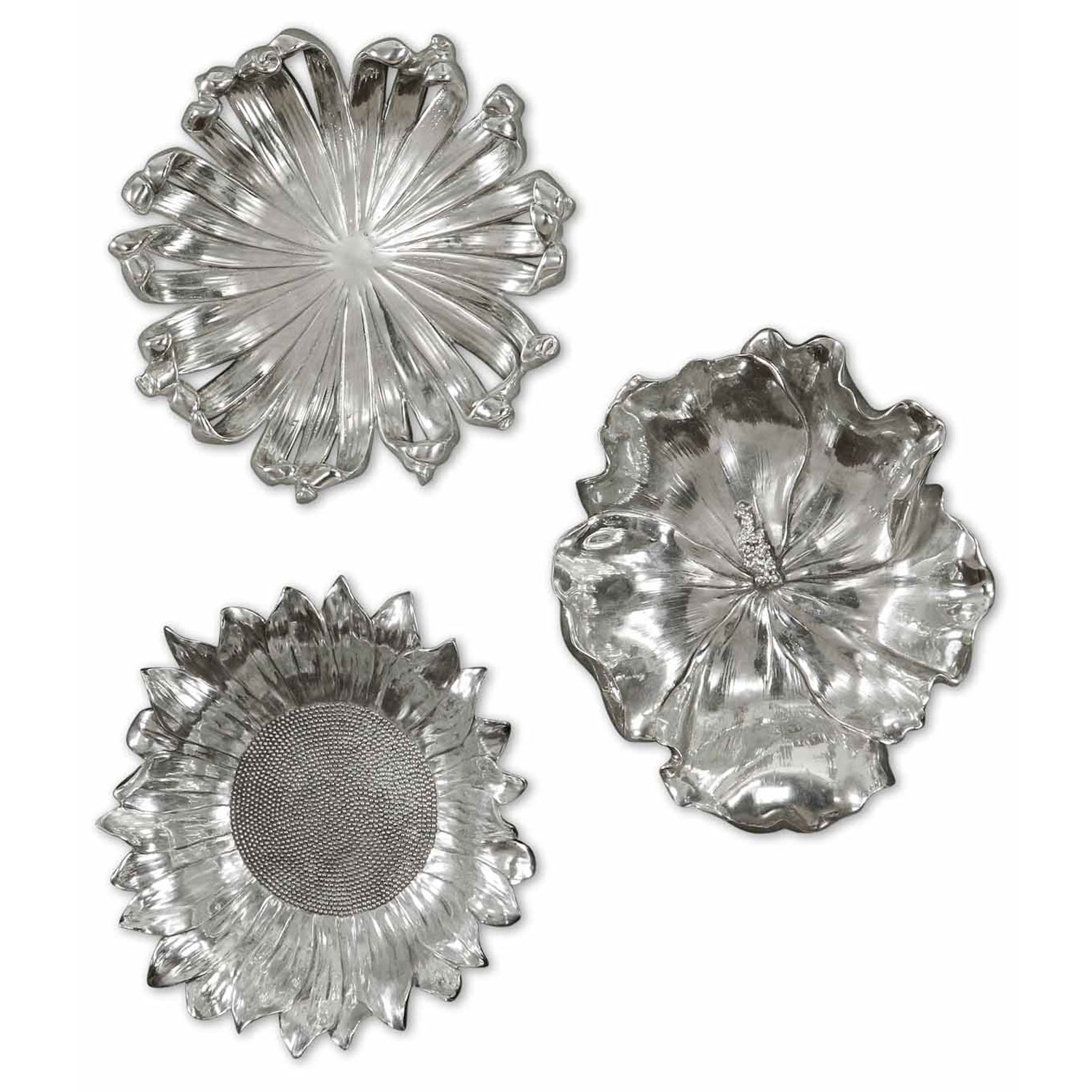 Preferred Metal Flower Wall Art Pertaining To Uttermost Silver Flowers Metal Wall Art, Set Of Three  (View 13 of 15)