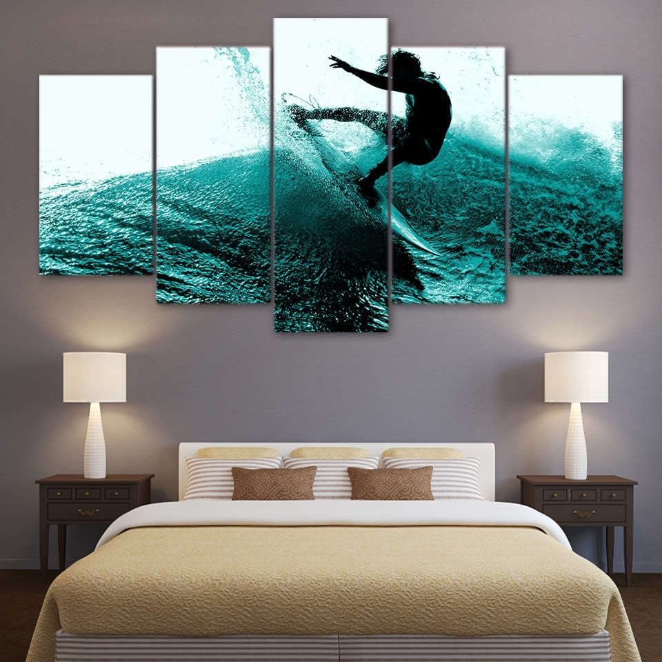 Preferred Multi Panel Wall Art Regarding Surfing Hitting The Waves Wall Art Multi Panel Canvas – Mighty Paintings (View 14 of 15)