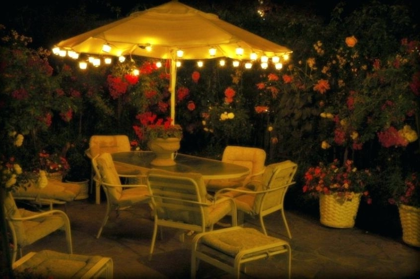 Preferred Patio Umbrella Lights Intended For Solar Powered Patio Umbrella Lights With Led U – Hitmangear (View 11 of 15)