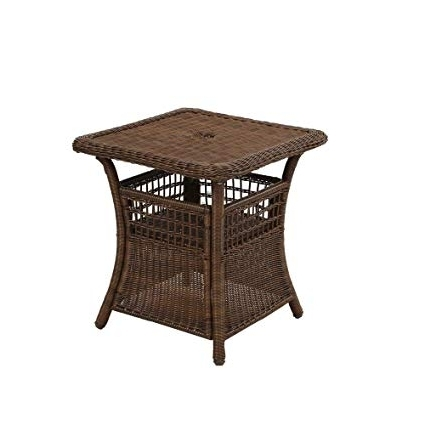 Preferred Patio Umbrellas With Accent Table For Amazon: Spring Haven Brown All Weather Wicker Patio Umbrella (View 9 of 15)