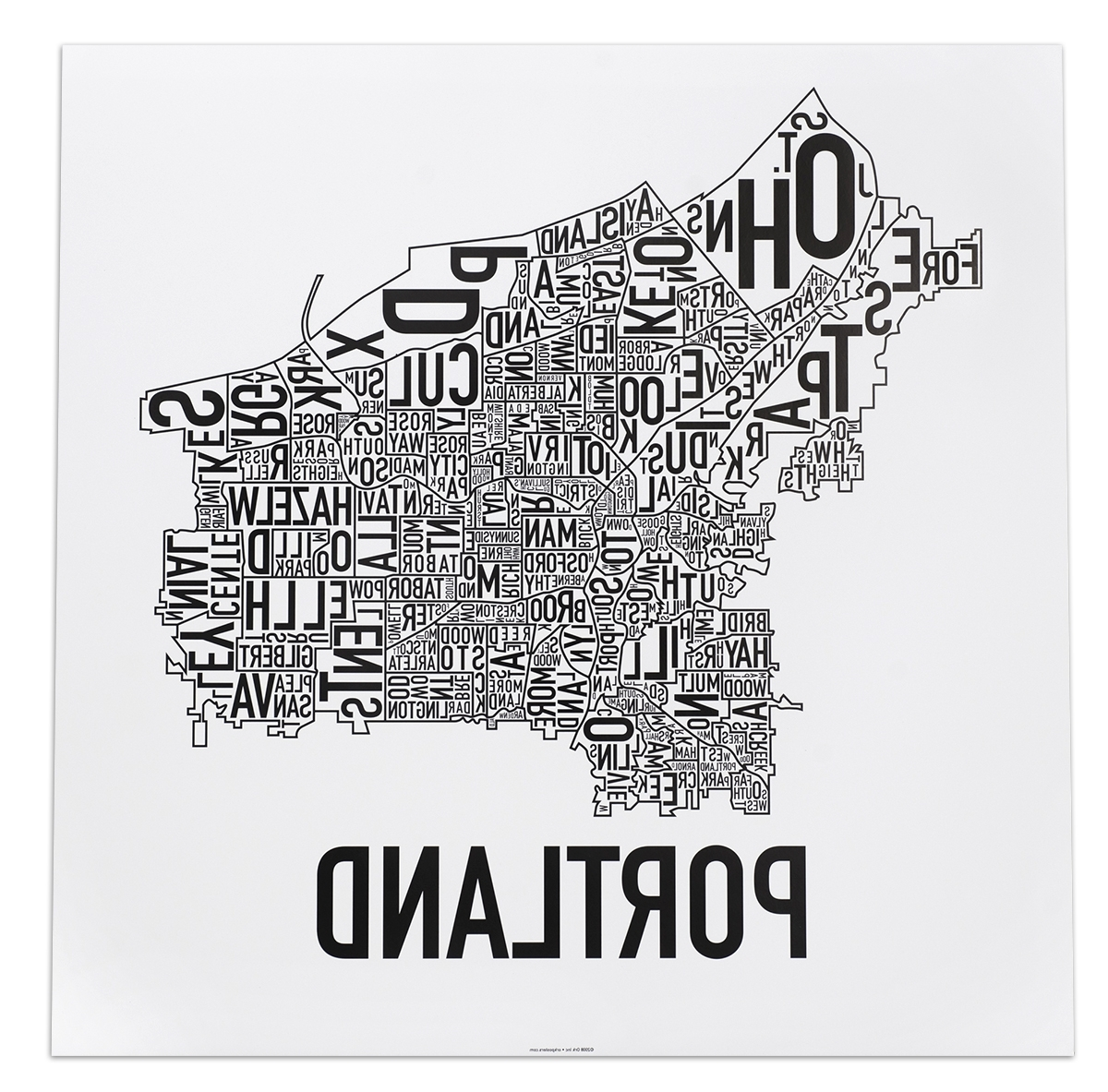 """Preferred Portland Neighborhood Map 18"""" X 18"""" Classic Black & White Poster With Regard To Portland Map Wall Art (View 5 of 15)"""