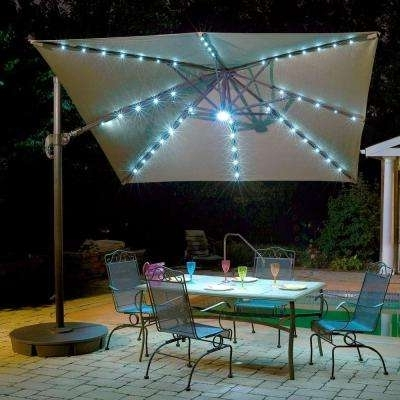 Preferred Sunbrella Patio Umbrella With Lights Throughout Cantilever Umbrellas – Patio Umbrellas – The Home Depot (View 7 of 15)