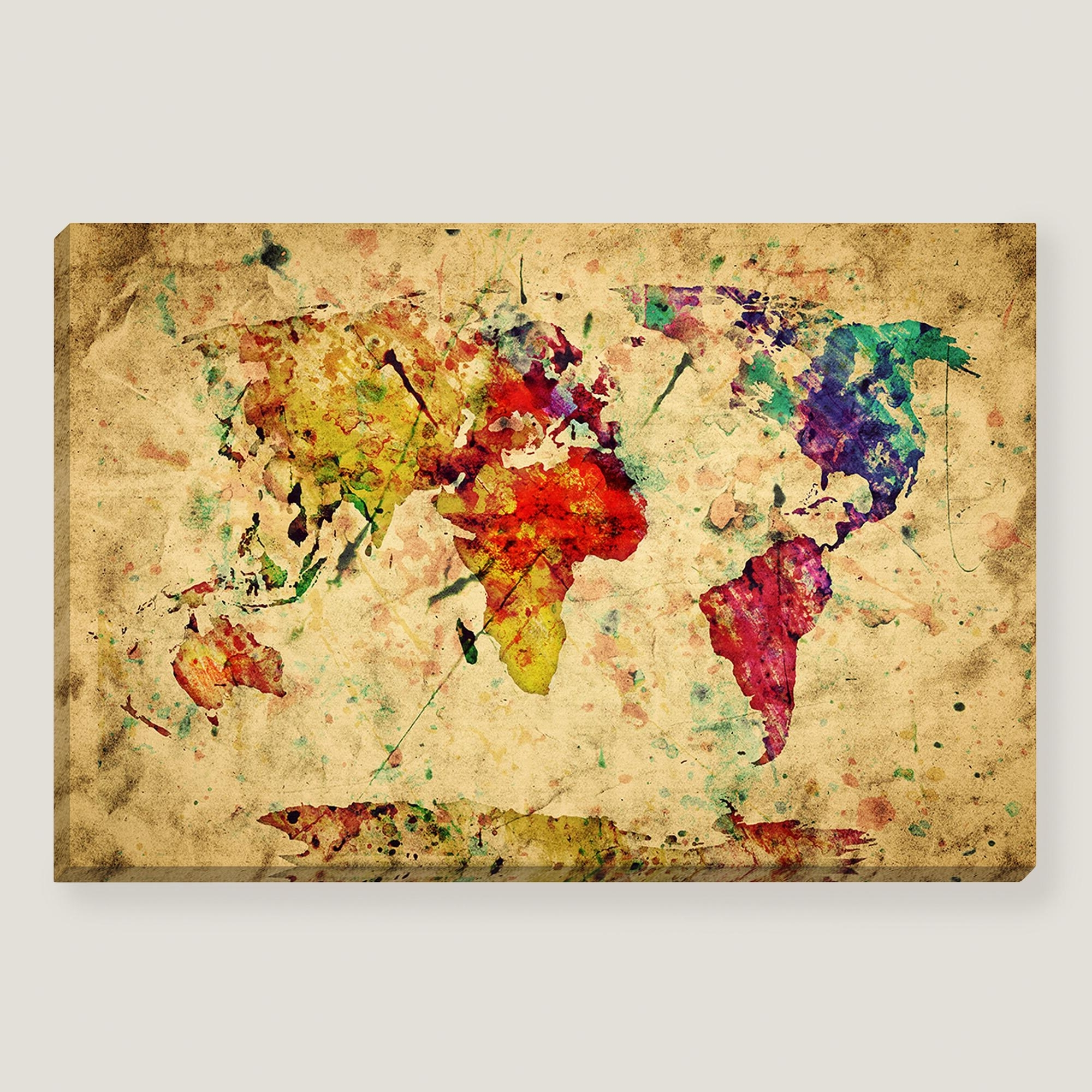 Preferred Wall Art Design Ideas: Brown Simple Vintage World Map Wall Art In World Map Wall Art Canvas (View 13 of 15)