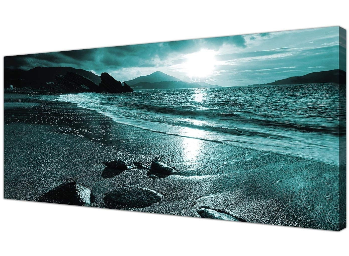 Preferred Wallfillers Modern Teal Canvas Pictures Of A Beach Sunset With Regard To Turquoise Wall Art (View 6 of 15)