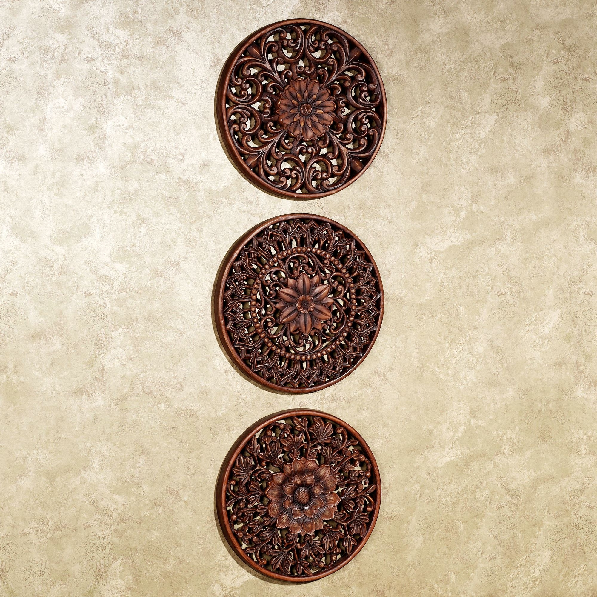 Preferred Wood Medallion Wall Art Within Wood Medallion Wall Art Floral Medallion Wall Plaque Set – Wooden (View 3 of 15)