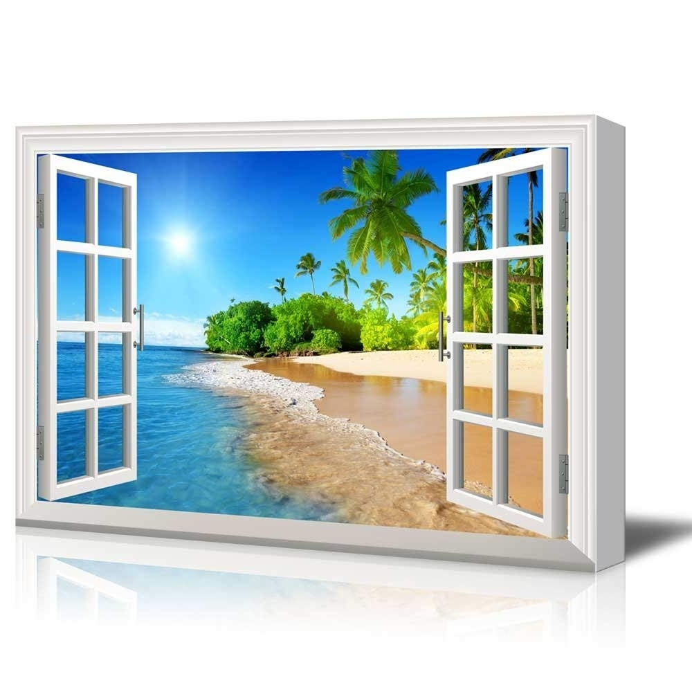Print Window Frame Style Wall Decor Beautiful Tropical Beach With In Fashionable Window Frame Wall Art (View 8 of 15)