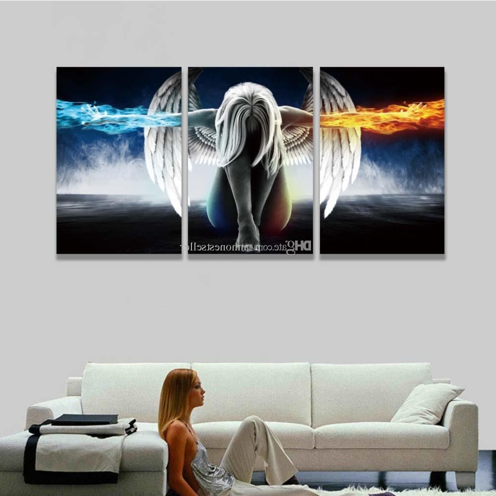 Printed 3 Panel Canvas Wall Art Angel Wings Painting Beautiful Anime With Most Up To Date 3 Piece Canvas Wall Art (View 10 of 15)
