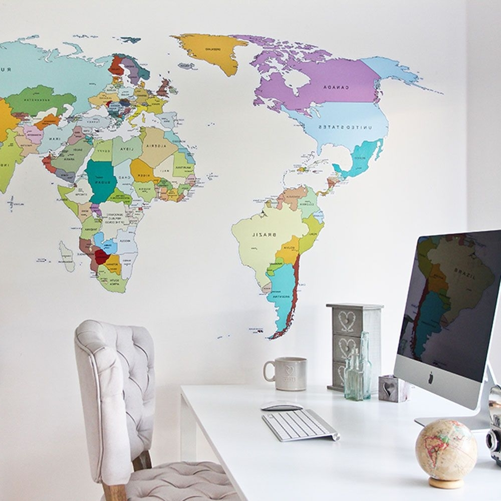 Printed World Map Wall Sticker (View 6 of 15)