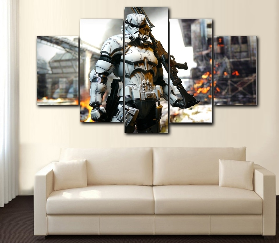 Prints 5 Pieces Wall Art Star Wars ,iron Man, Hunger Games,spider Intended For Current Star Wars Wall Art (View 6 of 15)