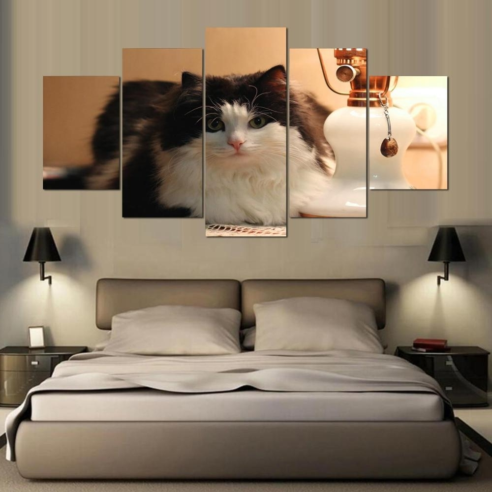 Promotion 5 Pieces Canvas Painting Cat Canvas Wall Art Print Inside Favorite Cat Canvas Wall Art (View 10 of 15)