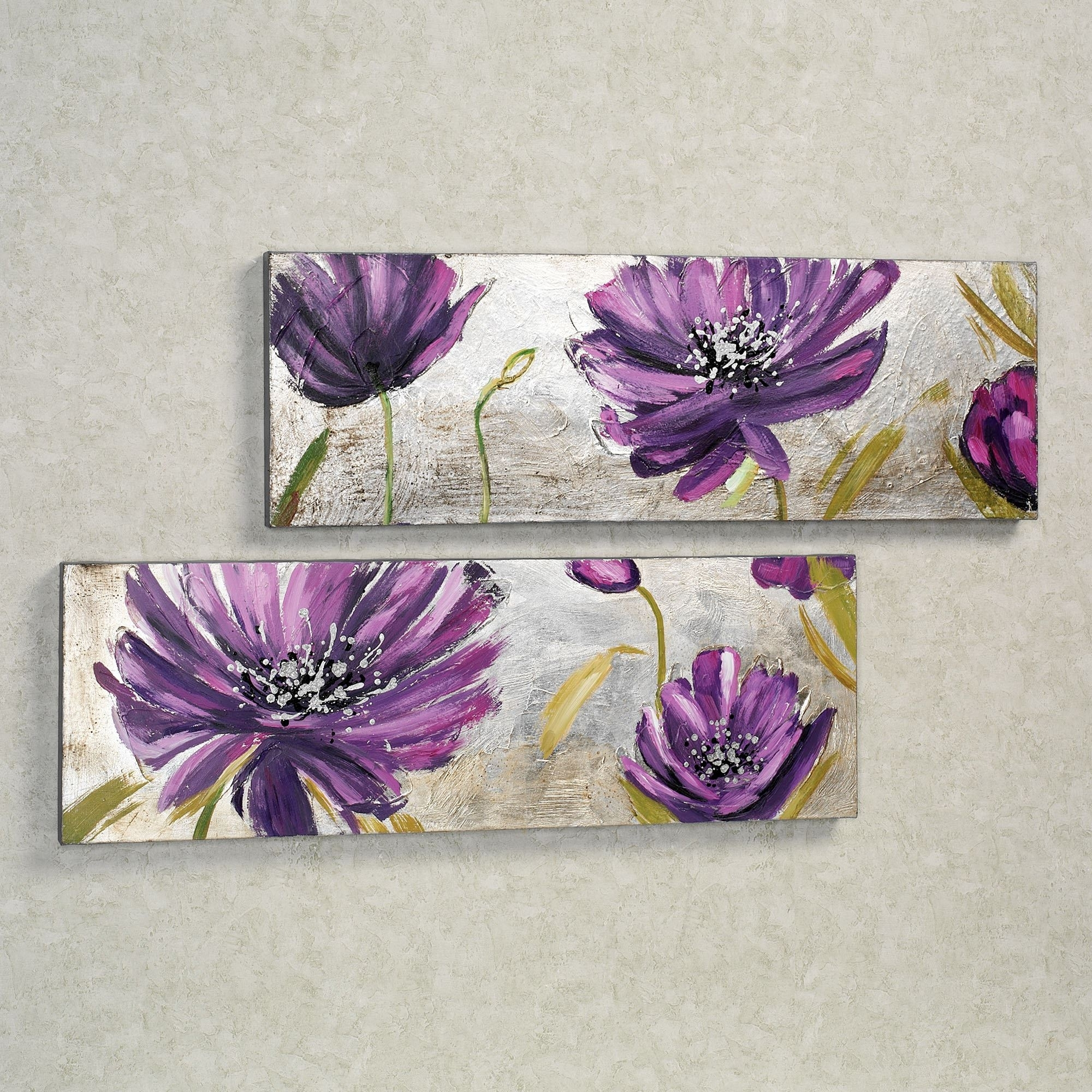 Purple Allure Floral Canvas Wall Art Set In Famous Purple Wall Art (View 2 of 15)