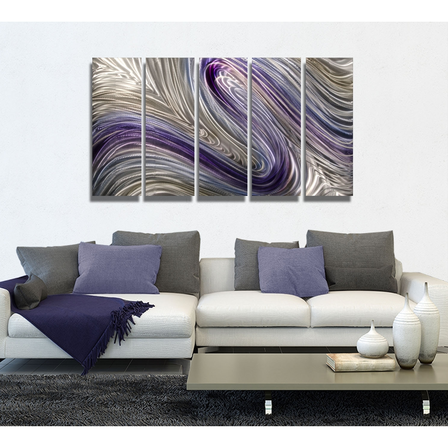 Purple And Grey Wall Art For Current Reverie – Purple, Silver And Gold Metal Wall Art – 5 Panel Wall (View 8 of 15)