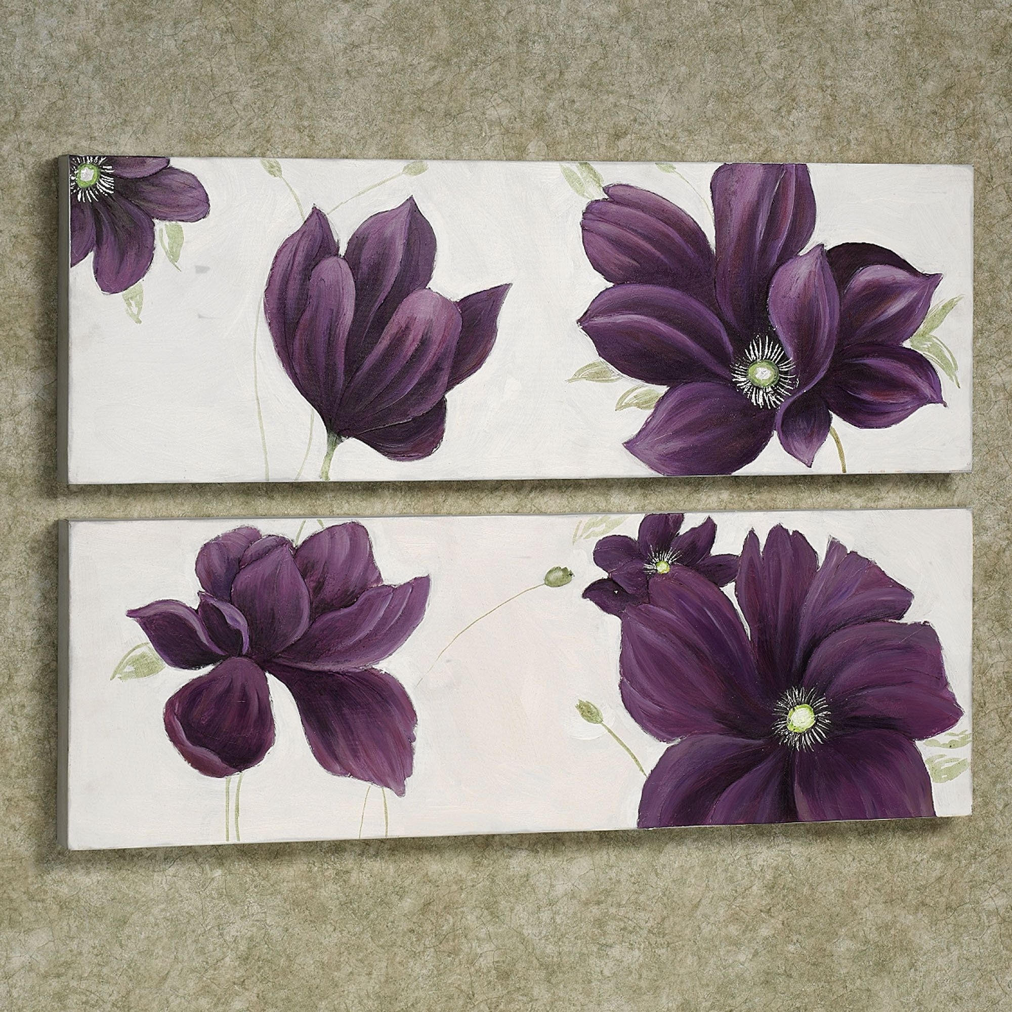 Purple And Grey Wall Art Within Well Liked Floral Whispers Canvas Wall Art Set (View 12 of 15)