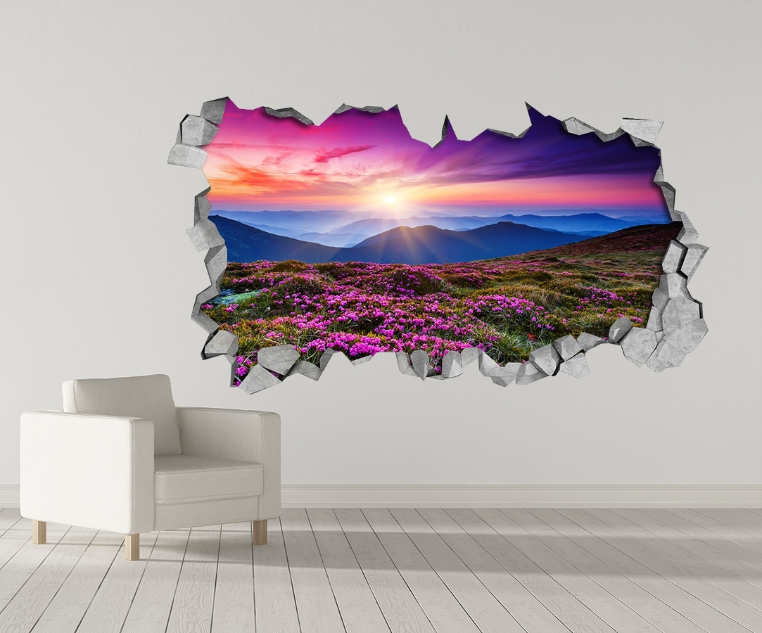 Purple Landscape – 3D Wall Stickers – 3D Wall Art – Wall Sticker With Trendy 3D Wall Art (View 14 of 15)